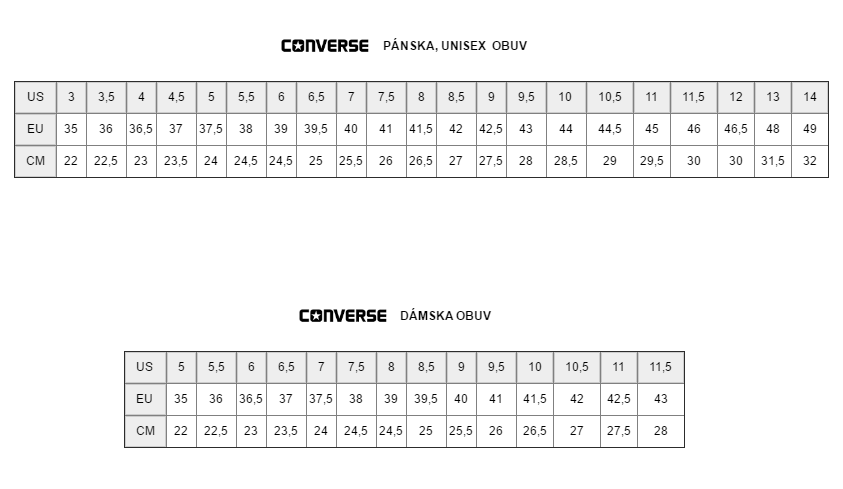 Veľkostná tabuľka Converse Adam Sport