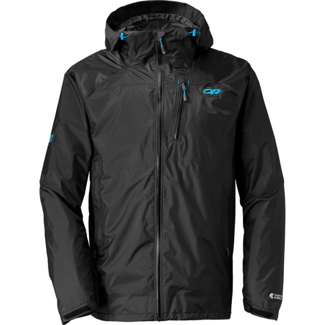 Bunda Outdoor Research Men´s Helium HD Jacket Black/Hydro - M