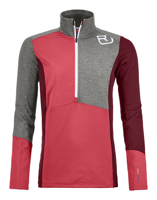 Mikina Ortovox W's Fleece Light Zip Neck - Hot Coral - L