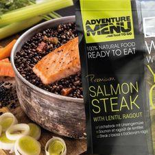 Adventure Menu Steak z lososa so šošovicovým ragú