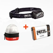Set Čelovka Petzl Actik - čierna + Petzl Core + Petzl Noctilight