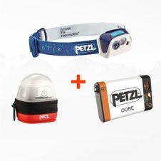 Set Čelovka Petzl Actik - modrá + Petzl Core + Petzl Noctilight