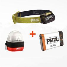 Set Čelovka Petzl Actik - zelená + Petzl Core + Petzl Noctilight