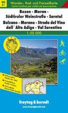 Turistická mapa 1:50T - Bozen, Meran, Südtiroler Weinstraße