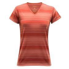 Termoprádlo Devold Breeze Woman T-shirt V-neck - mecca stripe