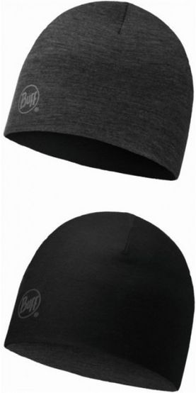 Buff Merino wool reversible hat - solid black