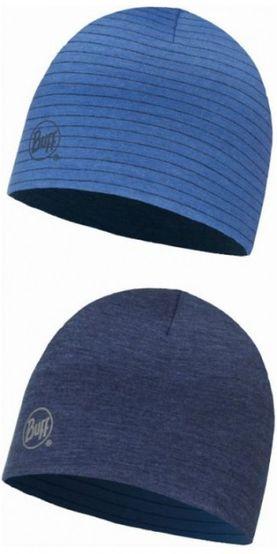 Buff Merino wool reversible hat - solid denim