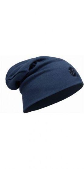 Merino wool thermal hat buff loose - solid denim