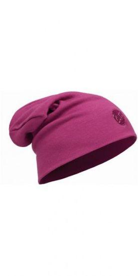Merino wool thermal hat buff loose - solid pink cerisse