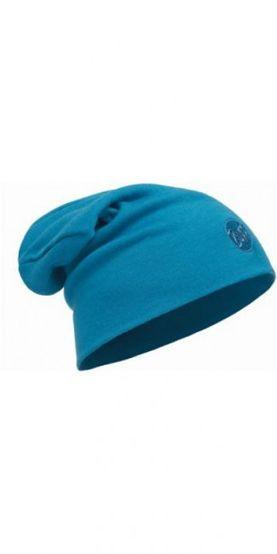 Merino wool thermal hat buff - solid ocean blue