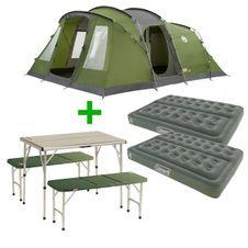 Set Stan Coleman Vespucci 6 + 2x Matrac Coleman Comfort Bed Double NP + Coleman Pack Away Table for 4