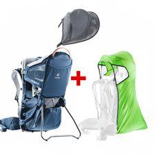 Turistický nosič Deuter Kid Comfort Active + pláštenka Deuter + strieška Deuter