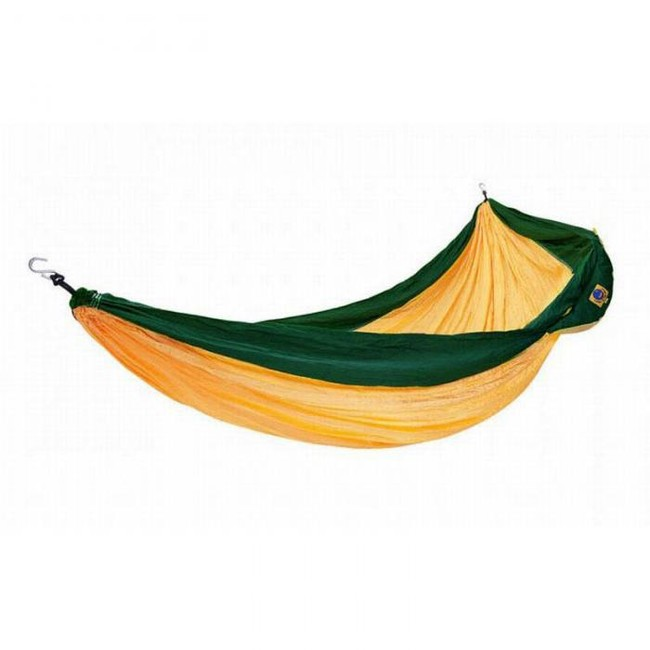 Ticket to the moon double hammock - dark yellow/ emerald green